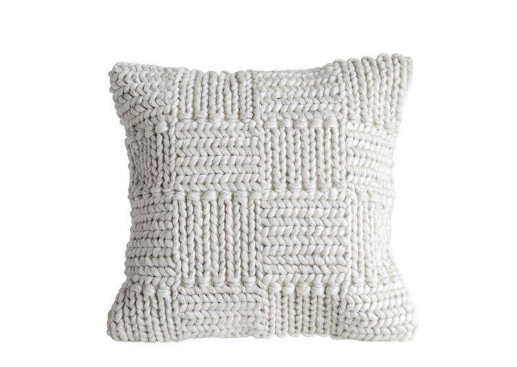 "Creativeco-op 20"" Square Knit Wool Pillow, Cream"