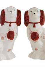 "Creativeco-op 8""L x 5""W x 11""H Ceramic Staffordshire Style Dog, Brown & White"