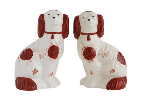 Creativeco-op Ceramic Staffordshire Style Dog, Brown & White