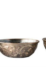 "Creativeco-op 12"" round Decorative Embossed Metal Bowl, Antique Gold"