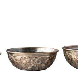 "Creativeco-op 12"" round Decorative Embossed Metal Bowl, Antique Gold"