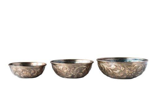 "Creativeco-op 10"" round Decorative Embossed Metal Bowl, Antique Gold"