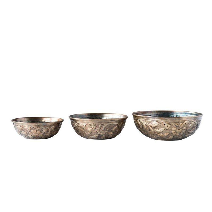 "8"" round Decorative Embossed Metal Bowl, Antique Gold"