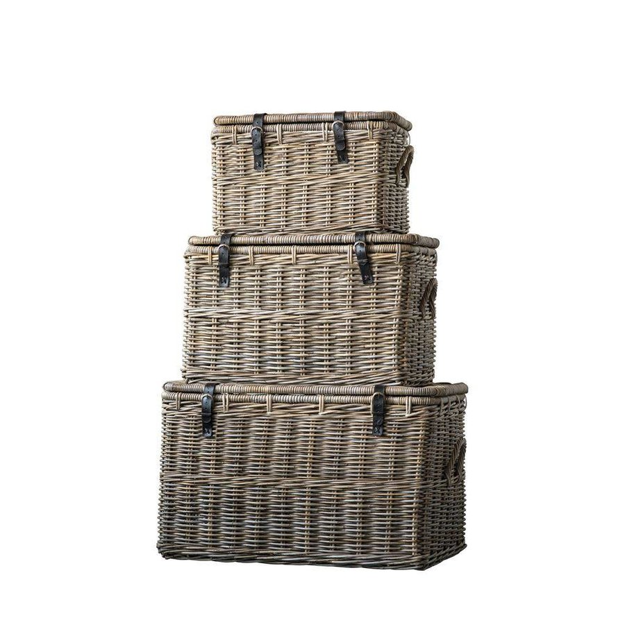 "30-1/2""L x 19-1/4""W x 18-3/4""H Natural Rattan Baskets w/ Lid & Leather Buckles"
