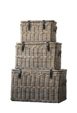 "Creativeco-op 24""L x 15-1/4""W x 14-3/4""H Natural Rattan Baskets w/ Lid & Leather Buckles"