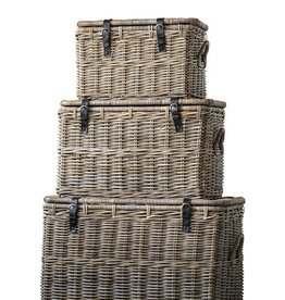 Creativeco-op Natural Rattan Baskets w/ Lid & Leather Buckles