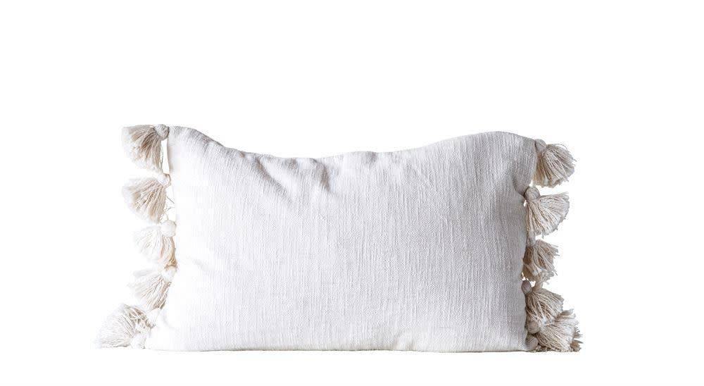 """Creativeco-op 24"""" x 16"""" Cotton Woven Slub Pillow w/ Tassels, Cream"""