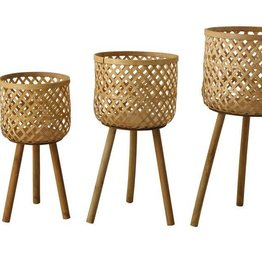 Creativeco-op Woven Bamboo Baskets w/ Wood Legs