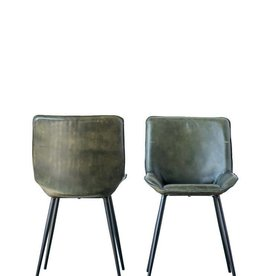 Creativeco-op Leather & Metal Chair, Green