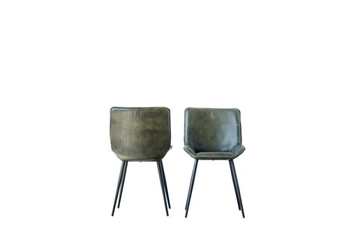 Creative Co-Op Leather & Metal Chair, Green