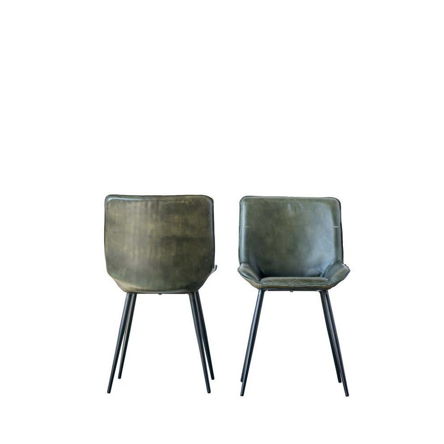 Leather & Metal Chair Green