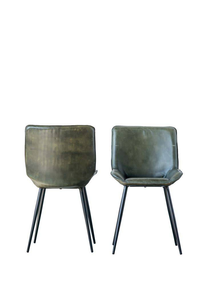 Creativeco-op Leather & Metal Chair Green