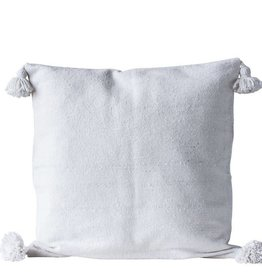 "Creativeco-op 25"" Square Cotton Euro Sham, Natural w/ White Tassels"