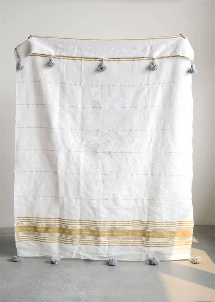 "Creativeco-op 59""L x 78""W Hand-Loomed Striped Cotton Throw w/ Tassels, Mustard & Grey"