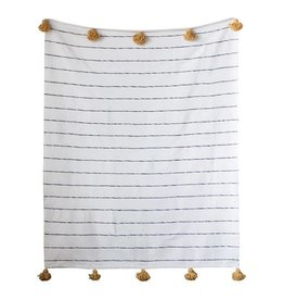 "Creativeco-op 78""L x 59""W Hand-Loomed Cotton Striped Throw, Brown w/ Mustard Tassels"