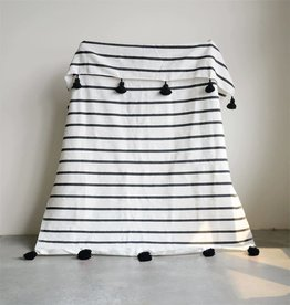 """Creativeco-op 59""""L x 78""""W Hand-Loomed Striped Cotton Bed Cover w/ Tassels, Black"""