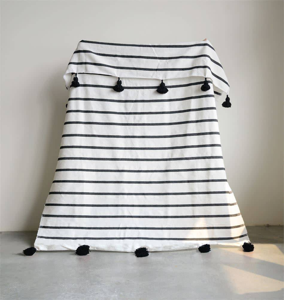 "Creativeco-op 59""L x 78""W Hand-Loomed Striped Cotton Bed Cover w/ Tassels, Black"