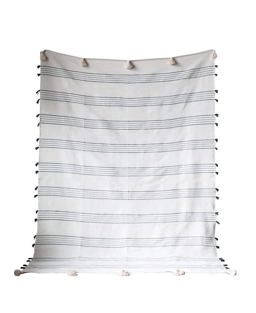 "Creativeco-op 98""L x 67""W Hand-Loomed Cotton Striped Bed Cover, Grey w/ White Tassels"