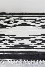 Creativeco-op 4' x 6' Hand-Woven Wool Blend Kilim Rug, Black & Cream