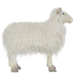Creativeco-op Resin Sheep w/ Faux Fur, White