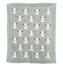 Bloomingville Cotton Knit Baby Blanket w/ Lamb, Mint