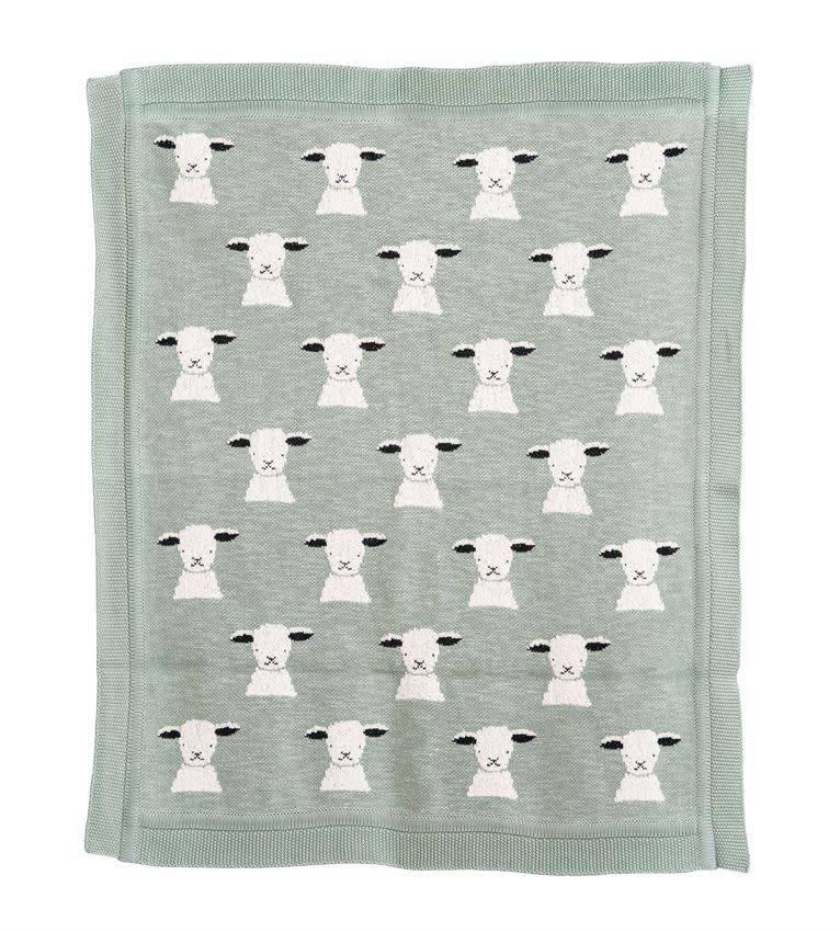 Bloomingville Cotton Knit Baby Blanket w/ Lamb, Mint