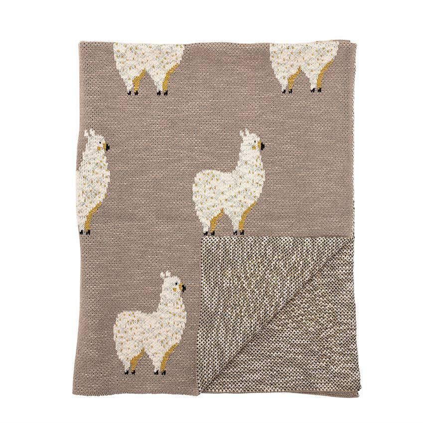 Bloomingville Cotton Knit Baby Blanket w/ Llama, Tan