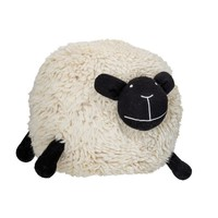 "22"" Round x 20""H Wool Blend Sheep Pouf, Cream"
