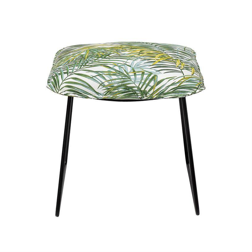 Bloomingville Palm Print Stool w/ Black Metal Legs