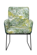 "Bloomingville Metal & Fabric Upholstered Chair, Palm Print w/ Black Legs,23-1/2""L x 24-3/4""W x 35-3/4""H"