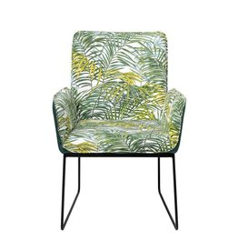 Bloomingville Metal & Fabric Upholstered Chair, Palm Print w/ Black Legs, KD