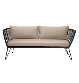 Bloomingville Metal & Woven Rope Sofa w/ Cushions, Natural & Black, KD