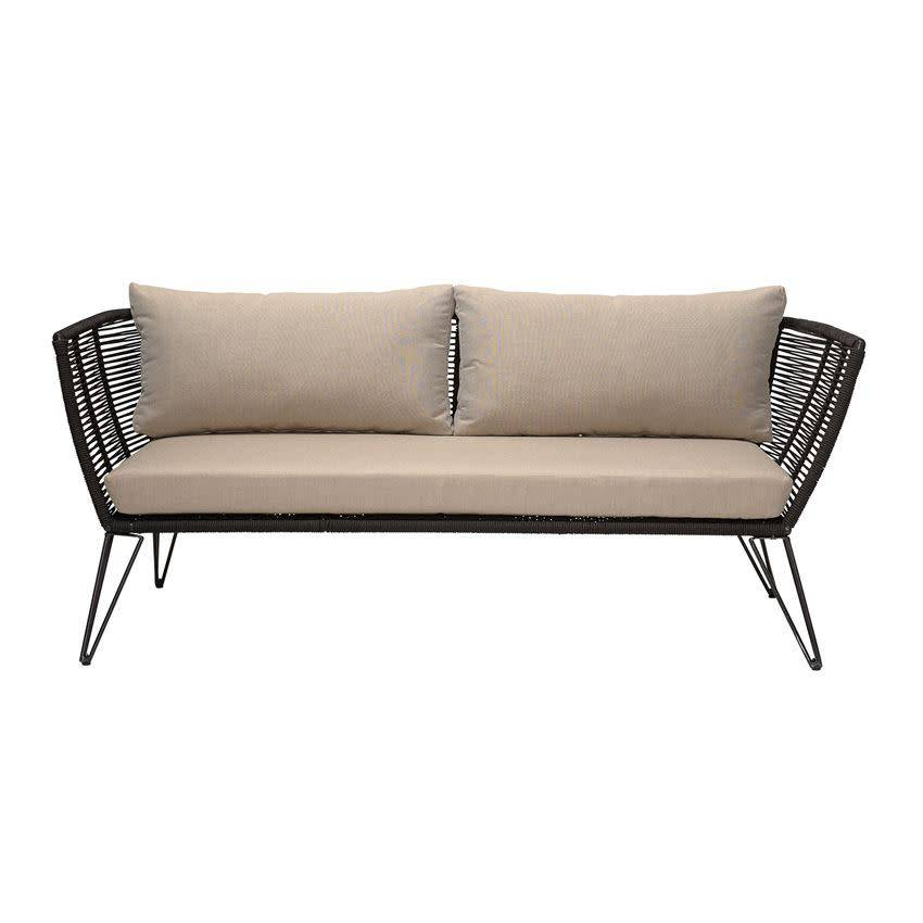 Marvelous 69L X 29W X 28 1 4H Metal Woven Rope Sofa W Cushions Natural Black Kd Inzonedesignstudio Interior Chair Design Inzonedesignstudiocom