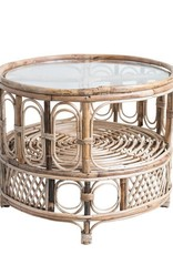 "Bloomingville 25-1/2"" Round x 21""H Bamboo & Glass Table w/ Shelf"