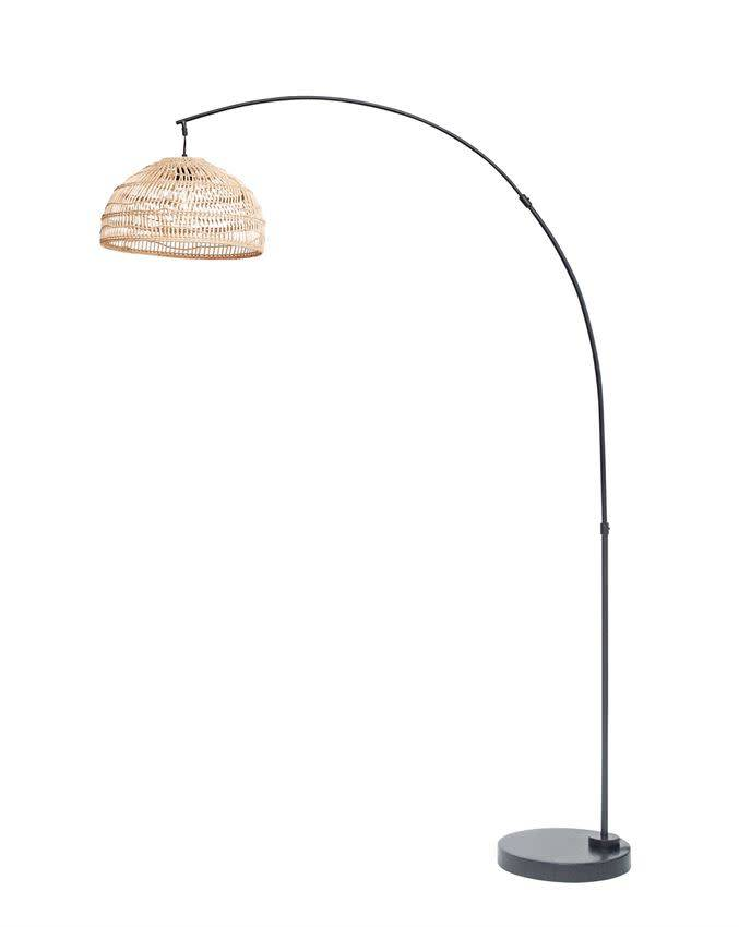 "Bloomingville Metal Floor Lamp w/ Woven Wicker Shade, 59""L x 17-3/4""W x 74-3/4""H"
