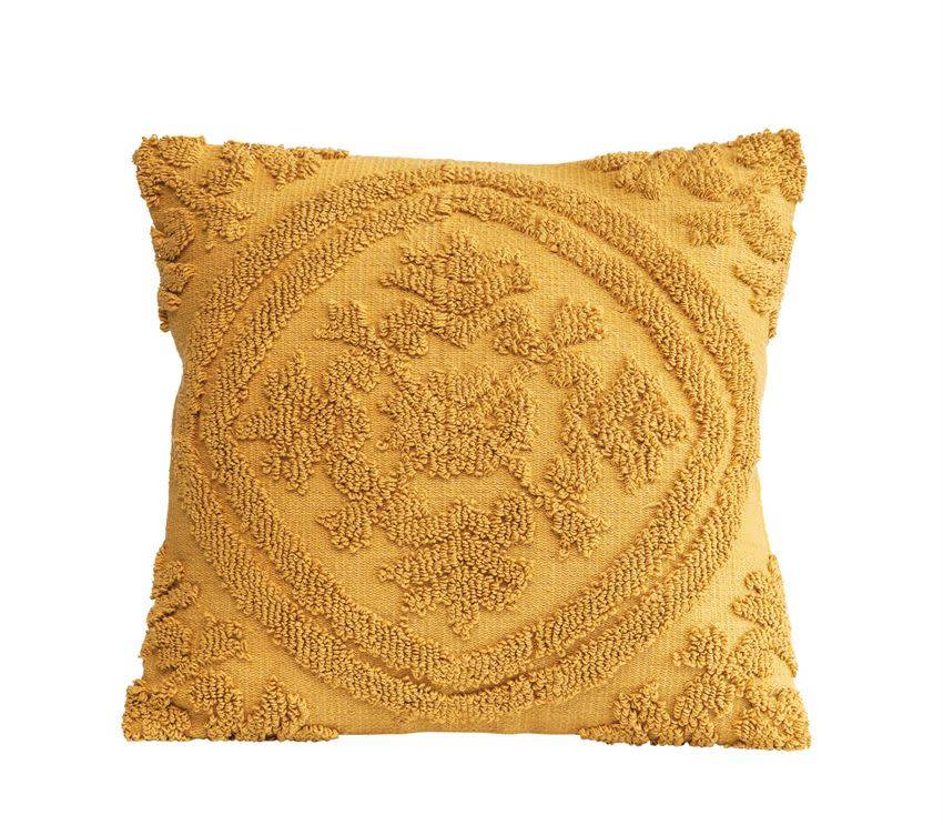 "Bloomingville 18"" Square Cotton Chenille Pillow, Mustard"