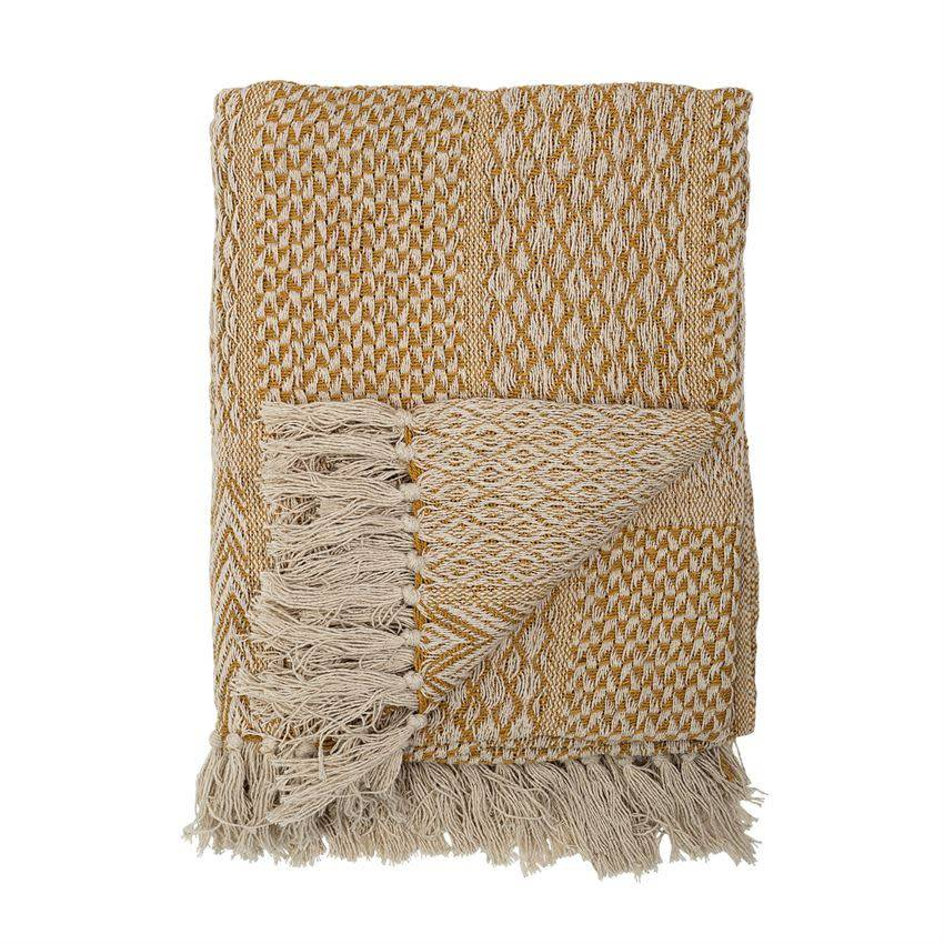 Bloomingville Cotton Blend Knit Throw w/ Fringe