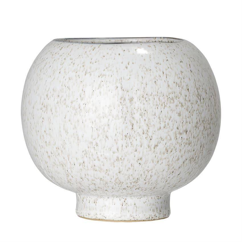 Bloomingville Speckled White Stoneware Flower Pot