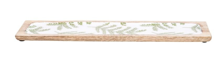 Bloomingville Enameled Mango Wood Tray w/ Fern Print