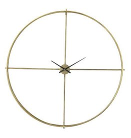 Bloomingville Round Metal Wall Clock, Distressed Gold Finish
