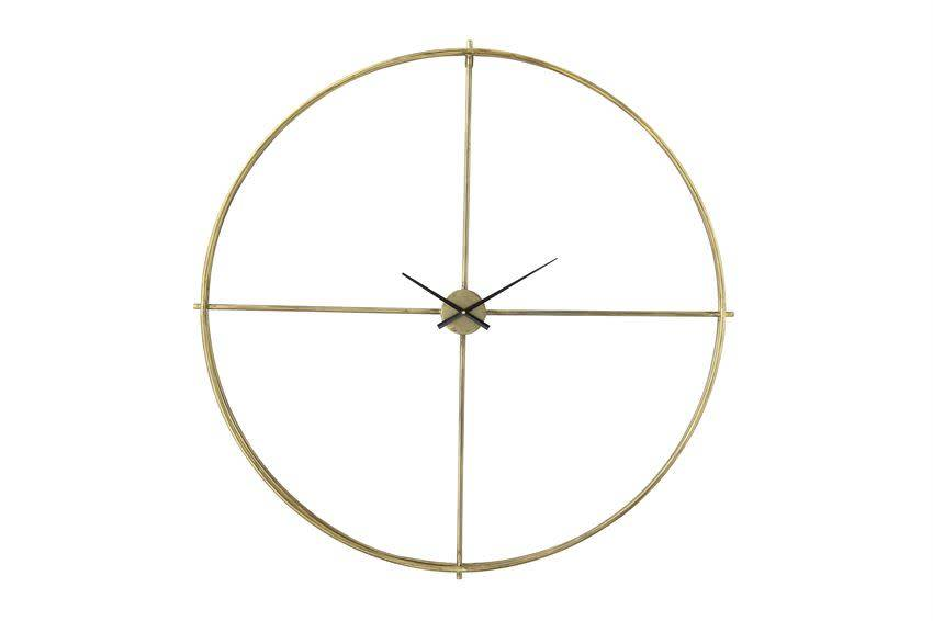 """Bloomingville 48-3/4"""" Round Metal Wall Clock, Distressed Gold Finish"""