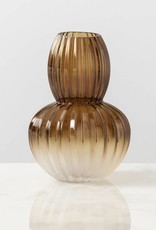 Floor 9 Amber Ridged Frosted Vase