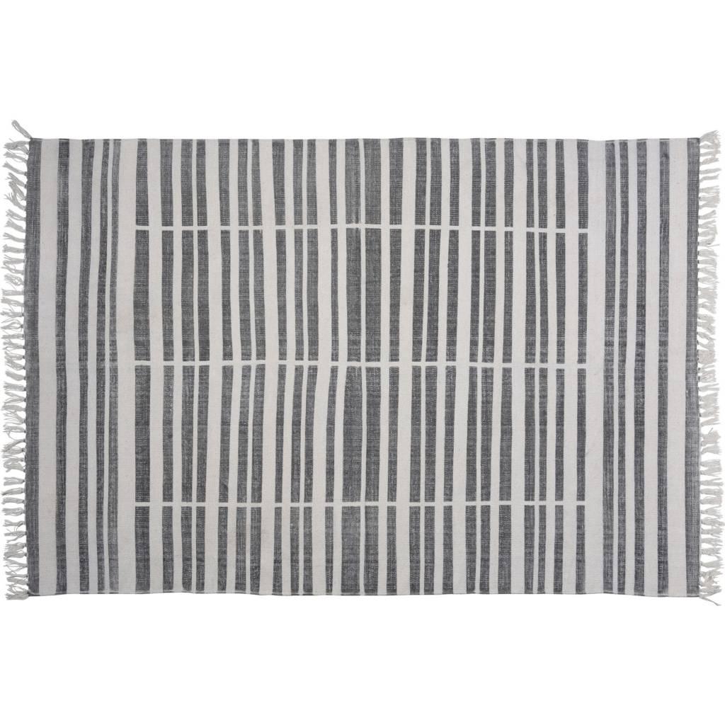 HomArt Block Print Rug Cotton Rug, 4x6 - Broken Stripe