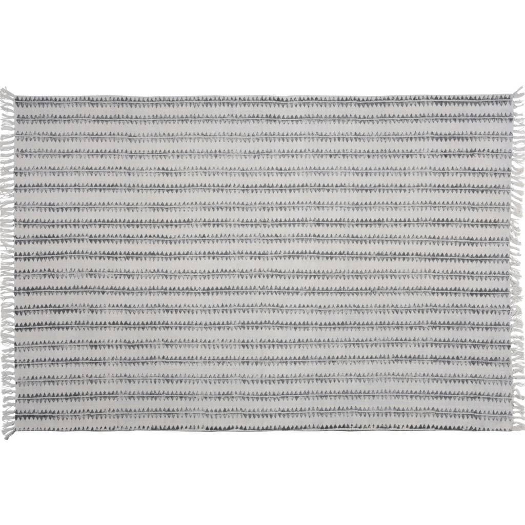 HomArt Block Print Rug Cotton Rug, 4x6 - Sawtooth Stripe