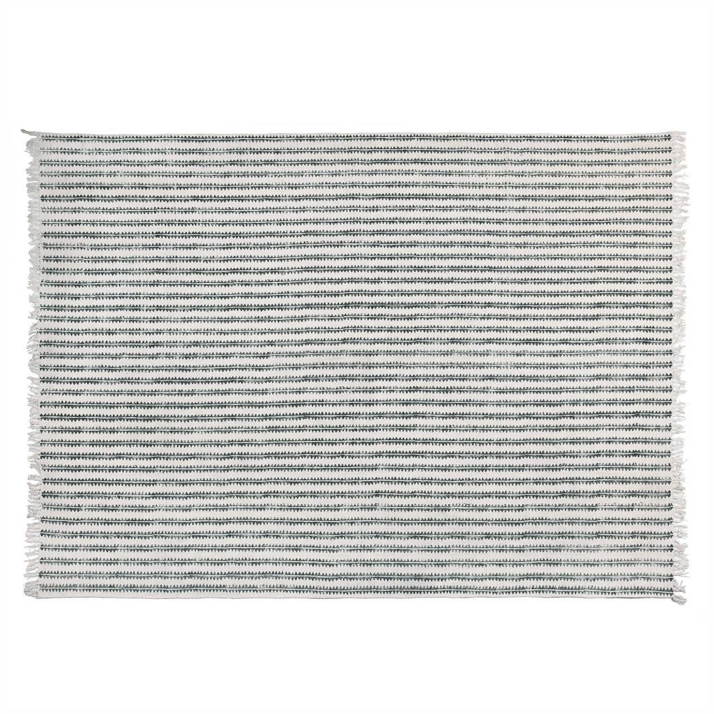 HomArt Block Print Cotton Rug, 8x10 - Sawtooth Stripe