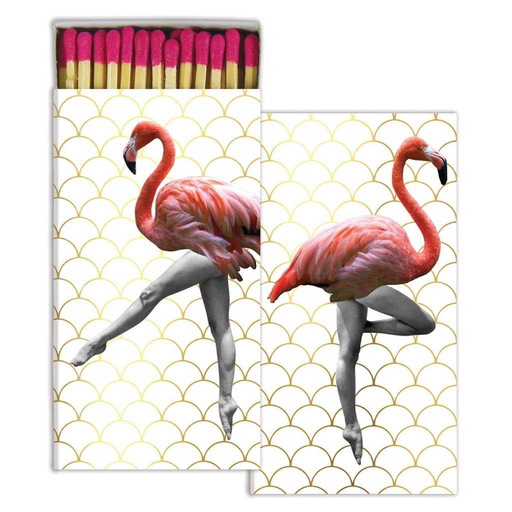 HomArt Matches - Can-Can Flamingos - Gold Foil