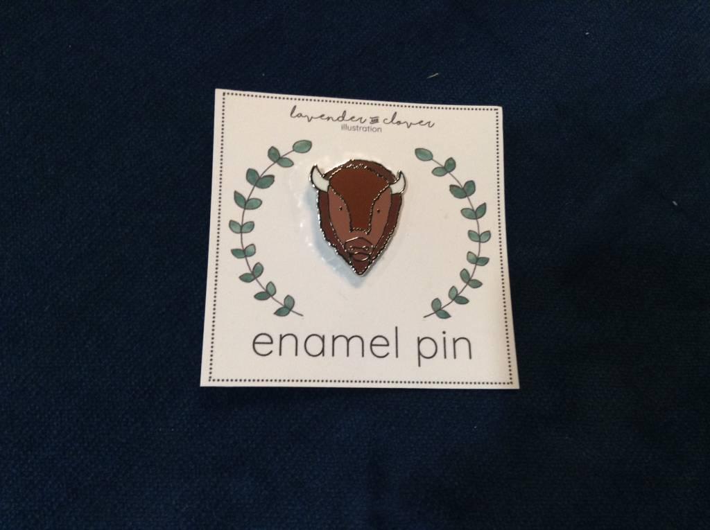 Lavender & Clover Enamel Bison Pin