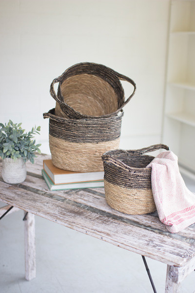 Kalalou Large black & natural basket