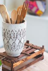 Kalalou Short Geometric Ceramic Vessel
