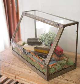 Kalalou Glass and metal display cabinet